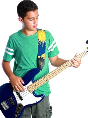 kid playing bass guitar